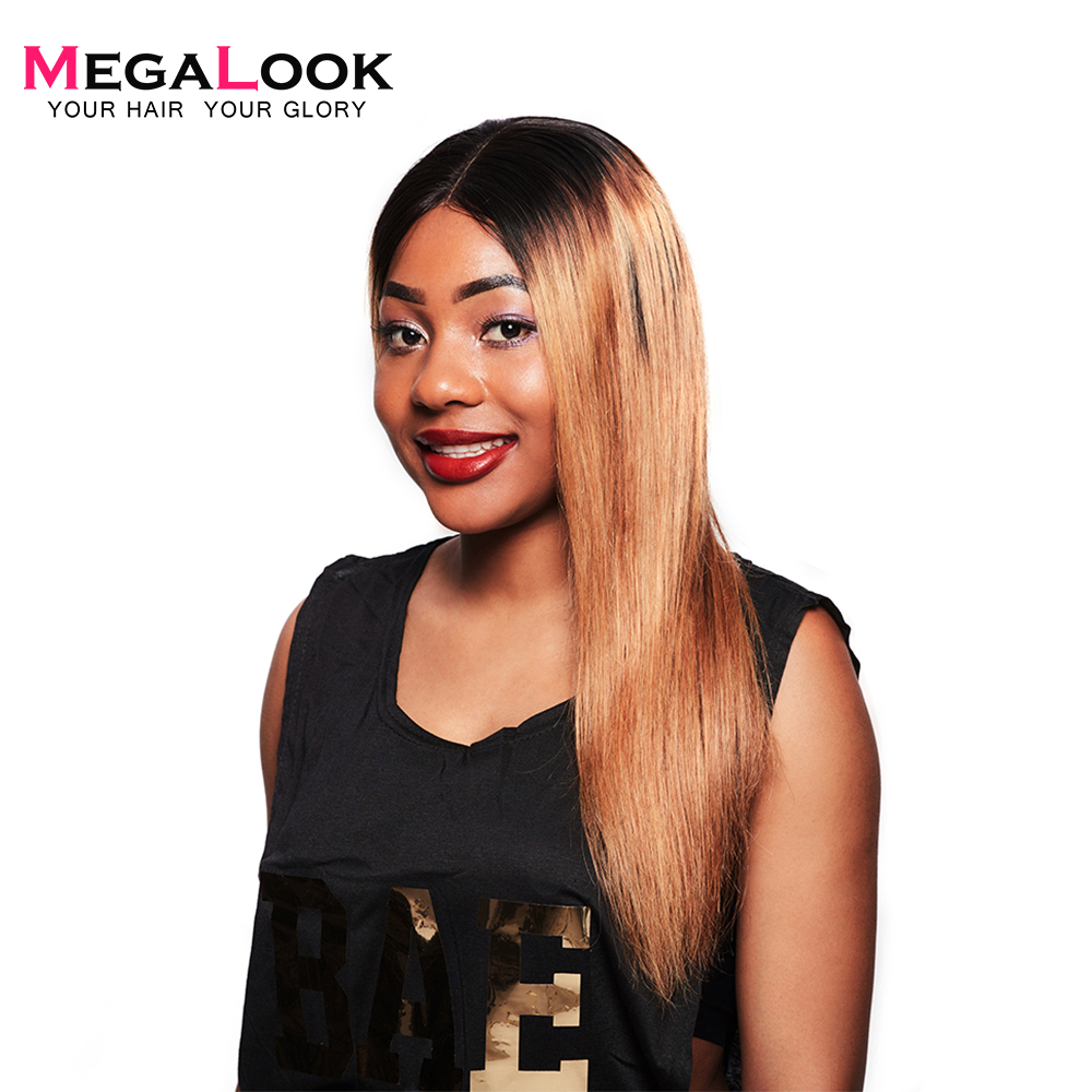 Megalook 210% Density 1b/27 Straight Lace Front Remy Human Hair Wig Pre Plucked With Baby Hair 12-34 inch