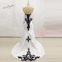 African Vintage White Black Wedding Dress Lace Satin Wedding Gowns Mermaid Bridal Dresses Corset Back Vestido de Noiva Sereia