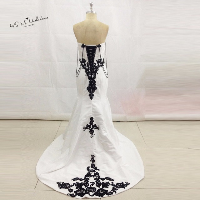 Afrikaanse Vintage Wit Zwart Trouwjurk Kant Satin Bruidsjurken ...