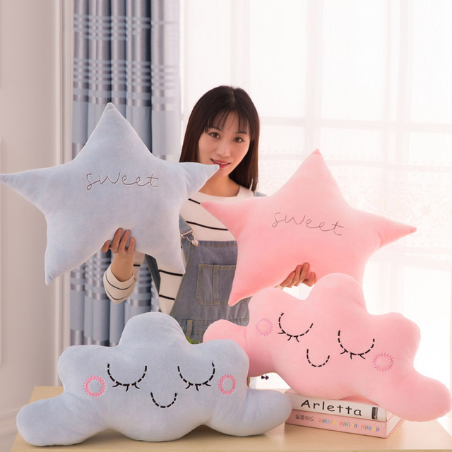 Cute Soft Stars Moon Plush Doll Baby Sleeping Hold Pillow Cushion Stuffed Toy Kids Toys  Gift for Girl 15.7in