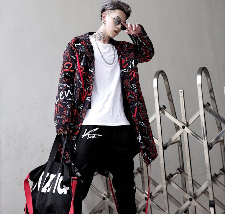 2020 nouveau Hip hop rue mode rue lettre impression longue trench manteau veste hommes ample à capuche veste hommes pardessus chanteur - 5