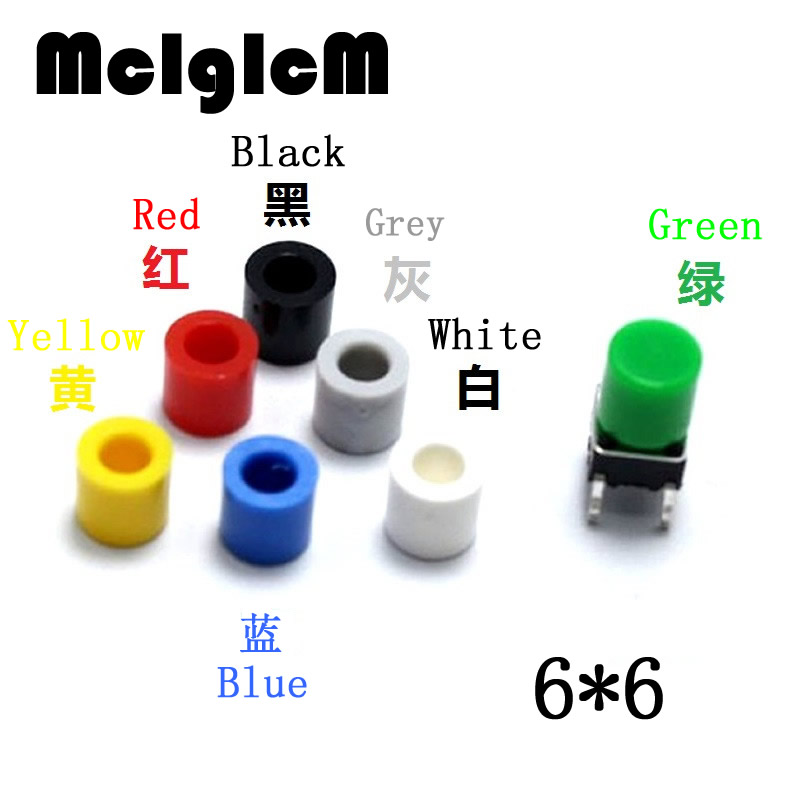 Plasitc Cap Hat for 6*6mm Tactile Push Button Switch Lid Cover, White Black Red Yellow Blue Green GreyPlasitc Cap Hat for 6*6mm Tactile Push Button Switch Lid Cover, White Black Red Yellow Blue Green Grey