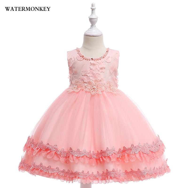 cf23086d4239ba Meisjes prinses jurk 2018 bloem parel partij verjaardag trouwjurk ...