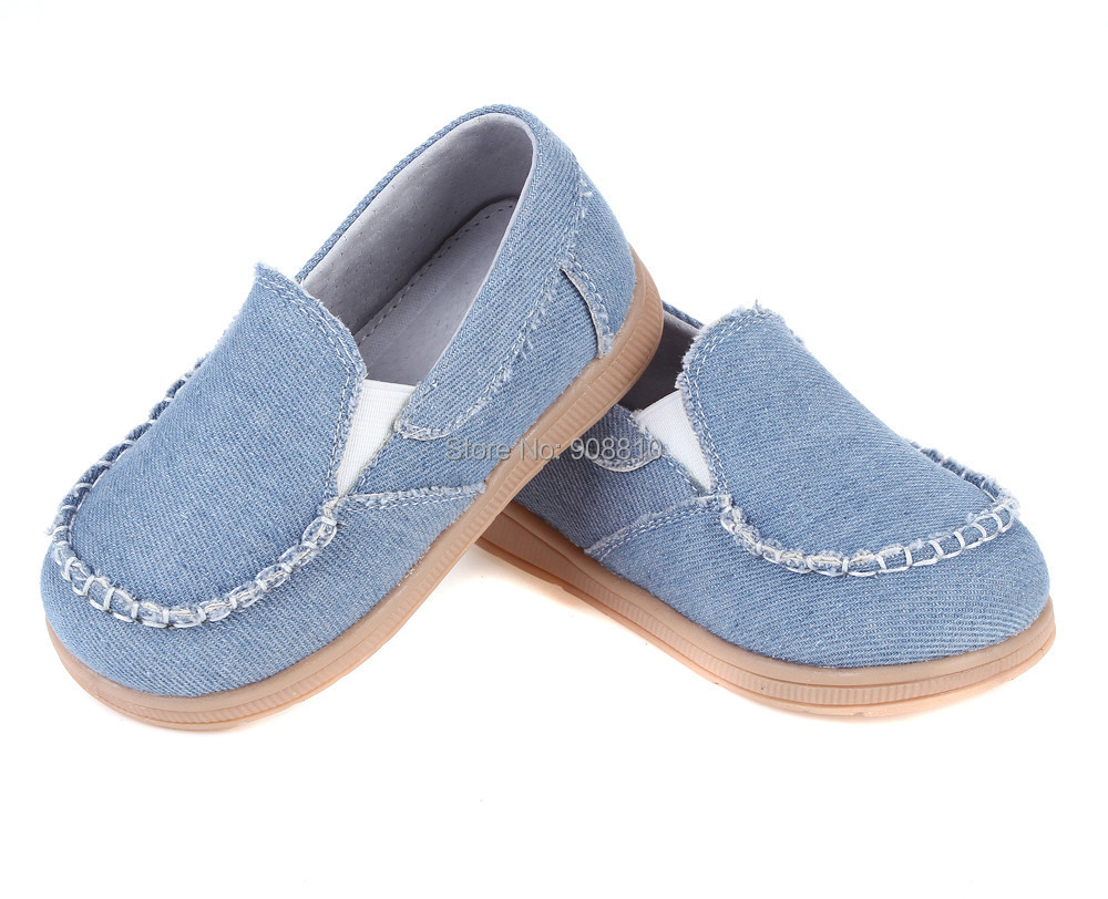 New!!kids canvas shoes boys denim sneakers slip on shoe sky blue hand stitching casual fashion leather shoes spring autumn
