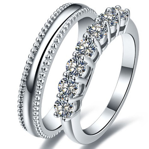 Amazing Pure silver Couple rings promise Synthetic Diamonds Pair