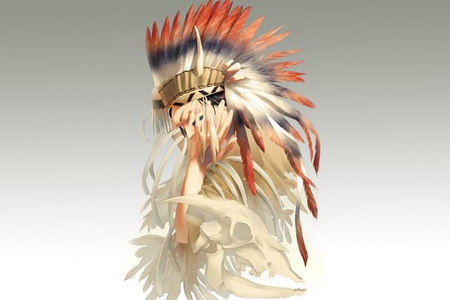 Guy indian headdress feathers skeleton Living room home art decor ...