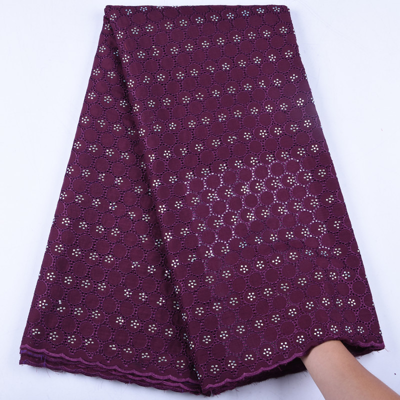 New Style African Dry Lace Fabrics 2019 High Quality Swiss Cotton Lace Fabric With Stones Swiss