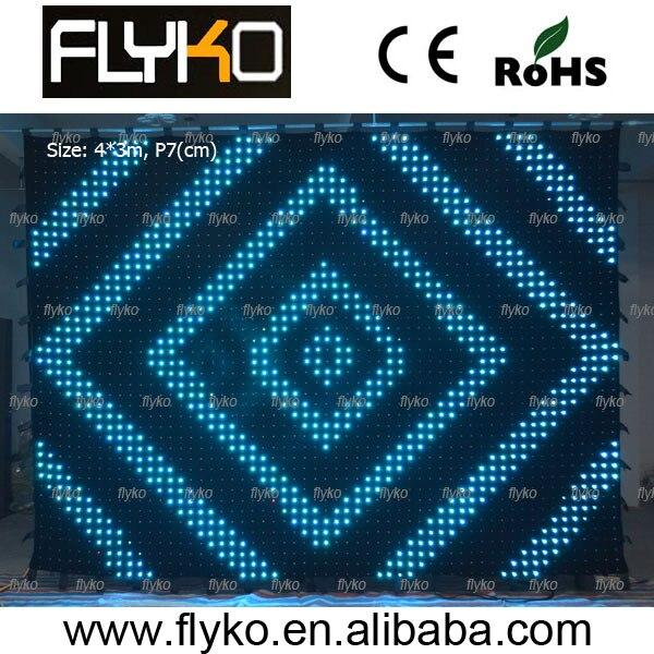 Гибкая светодиодная Занавеска(4 м* 3 м) Шаг 70 мм Светодиодная ткань/Музыка светодиодная завеса для зрелищных мероприятий/свадебные легкие шторы
