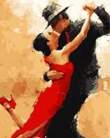 Cuadro Framess por números paintquadros de parede para sala moderna pintura al óleo abstracta Tango