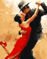 Pintura sin marco por números paintquadros de parede para sala de estar pintura al óleo abstracta moderna Tango