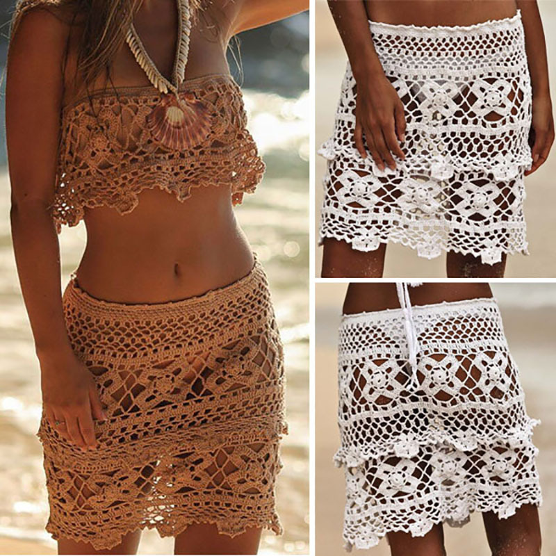 2019 Fashion Summer Women Crochet Cotton Hollow-Out Beach Skirt Handmade Flower Sexy Swimsuit Solid Color A-Line Skirt Free Ship