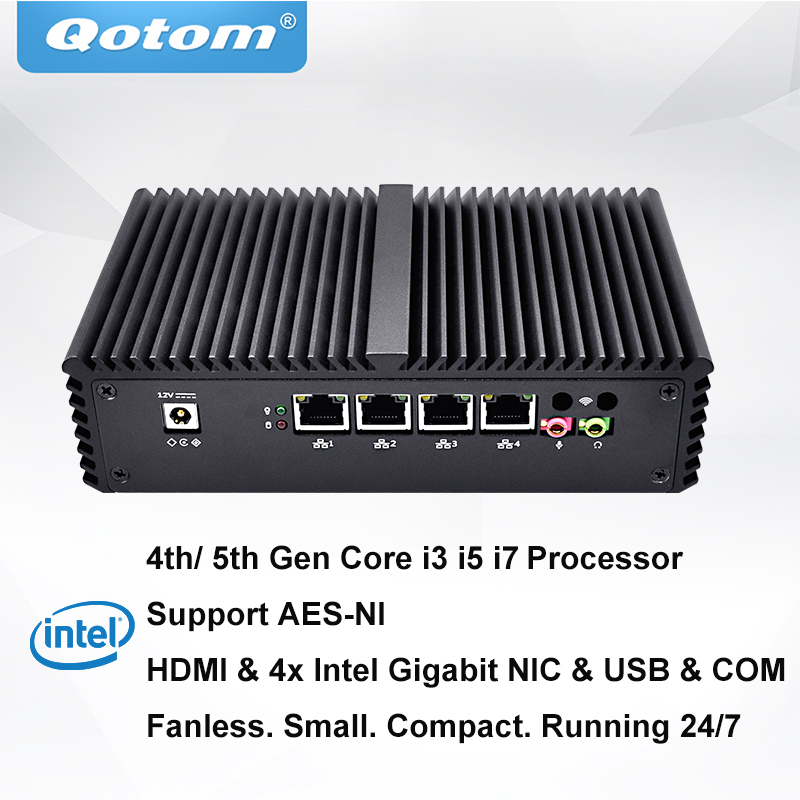 QOTOM Pfsense Mini PC with Core i3 i5 i7 processor and 4 Gigabit NICs, support AES-NI, Serial, Fanless Mini PC PFSenseQOTOM Pfsense Mini PC with Core i3 i5 i7 processor and 4 Gigabit NICs, support AES-NI, Serial, Fanless Mini PC PFSense
