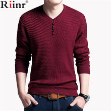 Riinr Mens Sweaters Wool Casual Dress Brand Cashmere Knitwear Pull Homme Solid Pullover Men V Neck Sweater Men Long Sleeve Shirt(China)