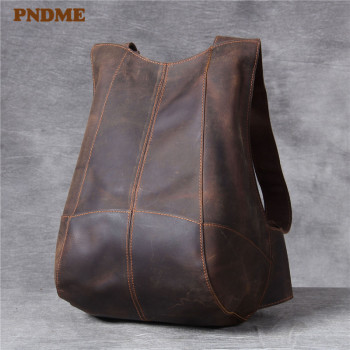 PNDME simple high quality crazy horse leather mens womens backpack vintage casual genuine designer small bagpack