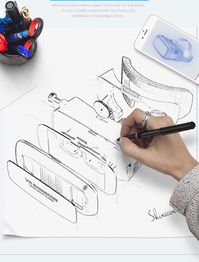 18 Original Shinecon VR Pro Virtual Reality 3D Glasses Headset VRBOX Head Mount Google Cardboard Helmet For Smartphone 4-6inch 4
