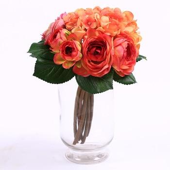 1 букет свадебные букеты Шелковый Искусственные цветы DIY Свадебные украшения сада яркие розы поддельные лист икебана Цветоводство C