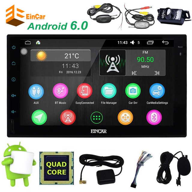 Android 6.0 Navigator NO DVD player BT Sub GPS AMP 2Din Audio Car Stereo Radio Capacitive Touch Screen 4-Core + wireless camera