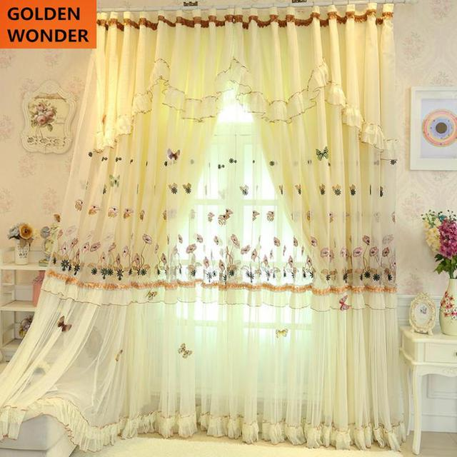 New Arrival Beige Princess Wedding Room Curtain Lace Curtains Room Divider  Curtains For Living Room Curtains