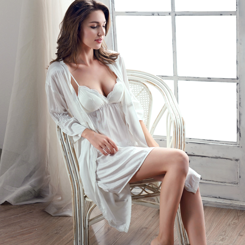 Xifenni Robe Sets Female Sexy Ice Silk Sleepwear Women Gown Set Two-Piece Bathrobe V-Neck Sleeping Dress With Chest Pad 2002