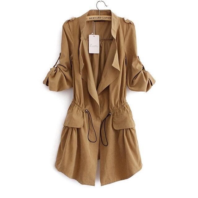 Корейский стиль женщины пальто шнурок талии тонкий длинное пальто осень новые длинными рукавами темно кнопки манто femme CT144