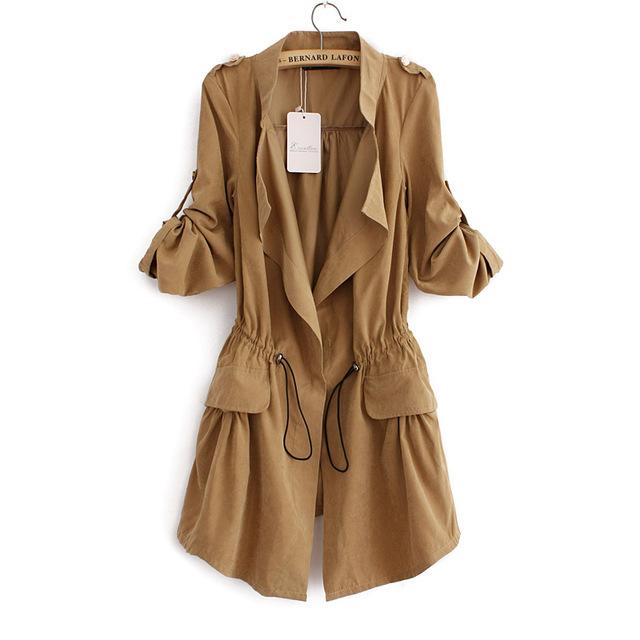 Estilo coreano mulheres trench coat cintura com cordão fino casaco de outono mais novo longa-manga longa botão escuro CT144 manteau femme