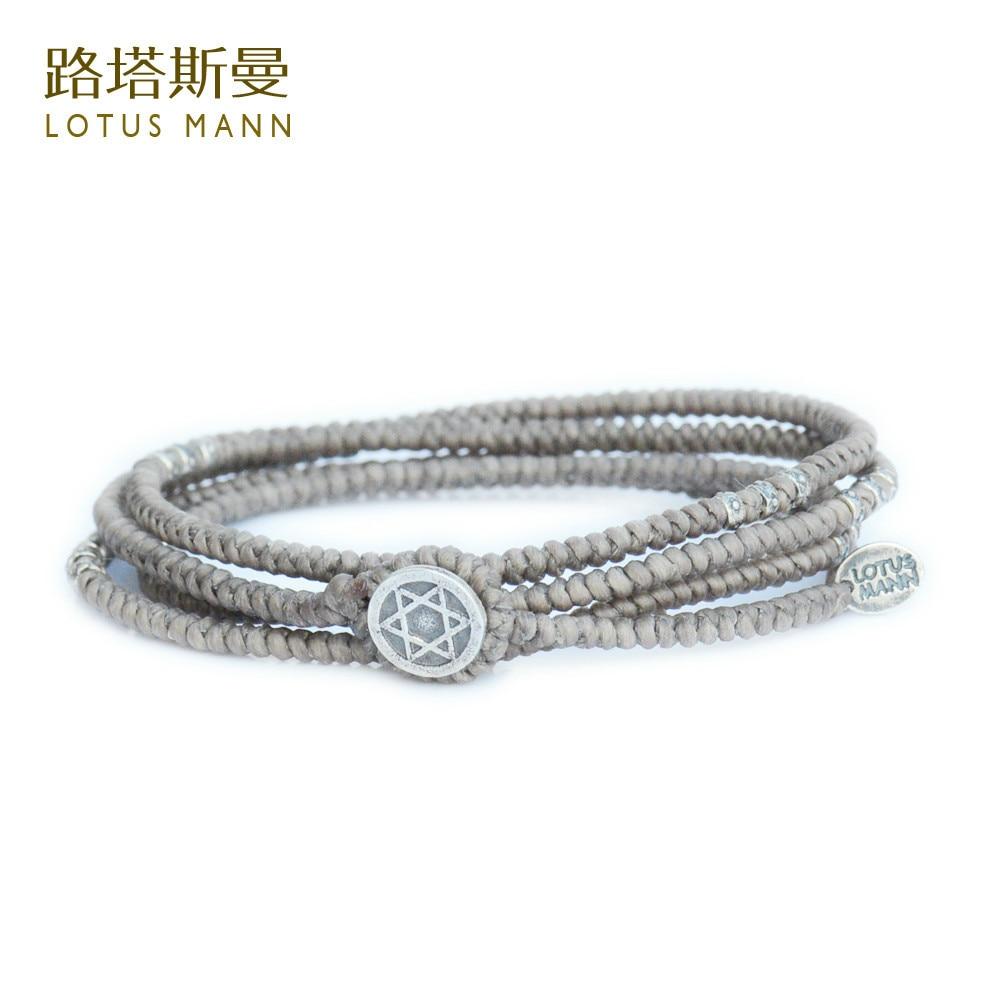 Lotua Mann Hand-woven kong gray silver four laps bracelet Men and women for multilayer