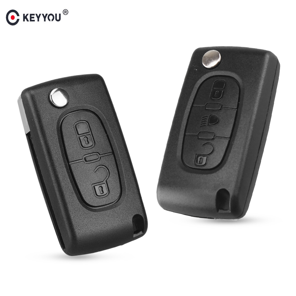 KEYYOU Flip Folding 2/3 Button Car Remote Key Case Shell For PEUGEOT 206 307 308 207 407 408 For Citroen C2 C3 C4 C5 C6 C8(China)