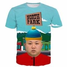 Kim jong un north park t shirts tees men women summer funny short sleeve tee shirts hipster 3d cartoon t shirt