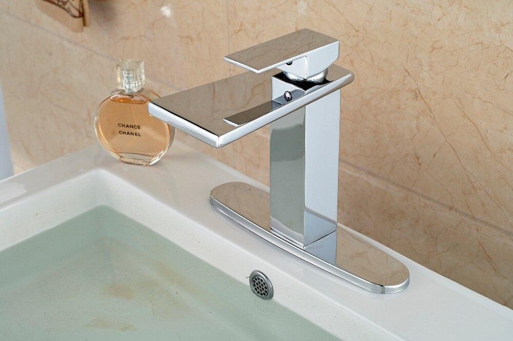 Single Lever Chrome Deck Mount Bathroom Sink Faucet One Hole Basin ...