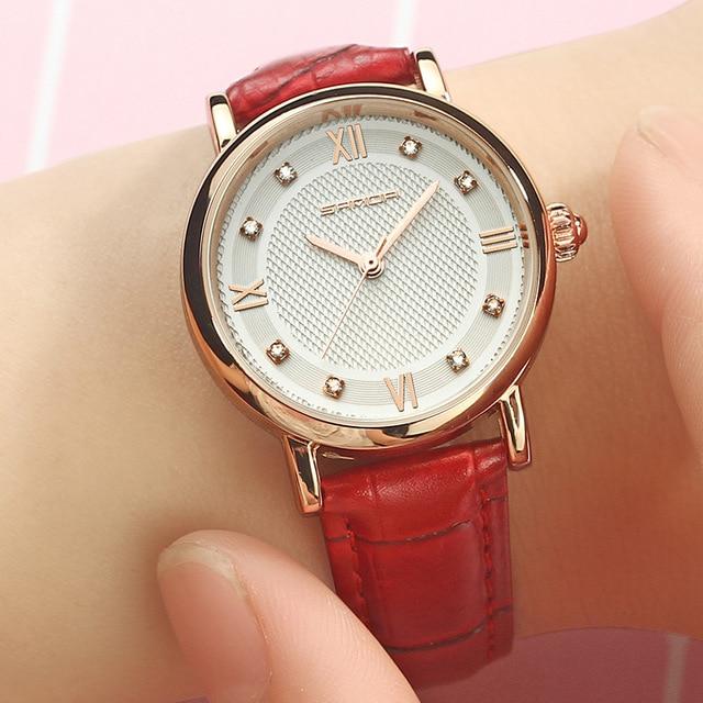SANDA Brand Fashion Leather Bracelet Watches Women Diamond Elegant Dress Wrist watch Geneva Casual Gold Ladies Clock 2018 Saat