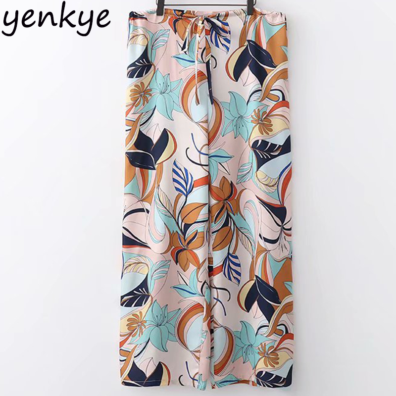 European Style Women Floral Printed Wide Leg Pants Female Drawstring High Waist Plus Size Casual Loose Trousers palazzo pants