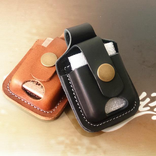 2018 fashion Handmade leather lighter case Kerosene Lighter cover holder bag for belt USB electronic cigarette lighter box
