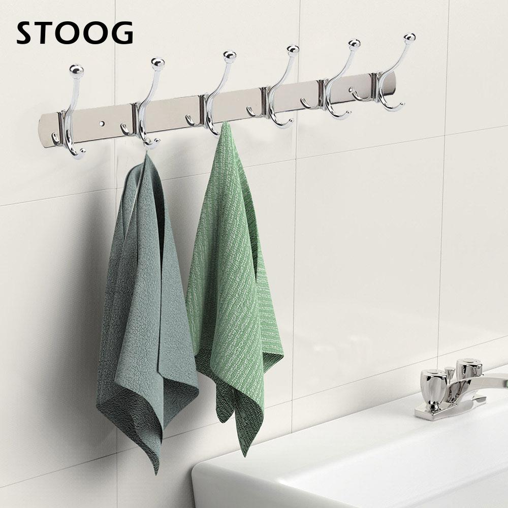 2018 Clothes Rack Multi Function Stainless Steel Hook Holder Hat 6 To 12 Coat Wall Hanger Robe Drop Shipping