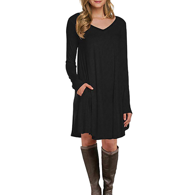 Feitong Autumn Plus Size T Shirt Dress Women Long Sleeve Dress 2018 Knee  Length V Neck Loose Casual Dress Ladies Dresses 1057947f35cb