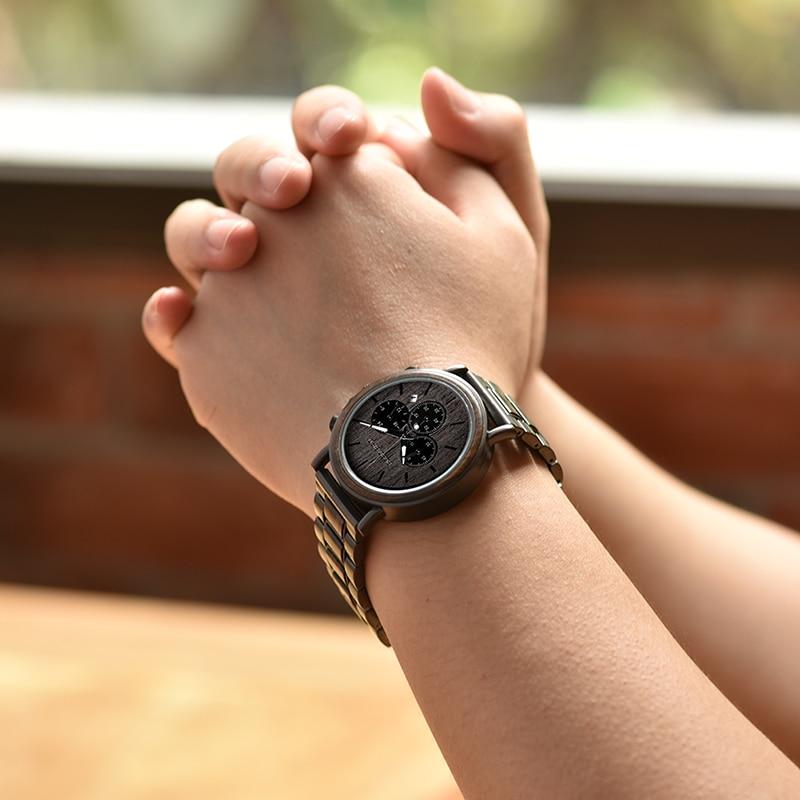 Image 5 - BOBO BIRD деревянные мужские часы Relogio Masculino лучший бренд класса люкс СТИЛЬНЫЙ Хронограф военные часы в деревянной подарочной коробке-in Кварцевые часы from Ручные часы on AliExpress - 11.11_Double 11_Singles' Day