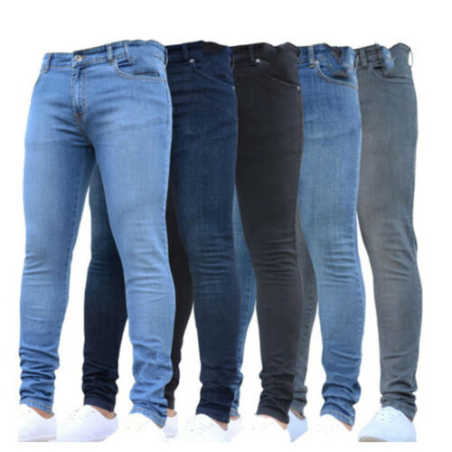 2019 High Waist Solid Casual Mens Fashion Hose Super Stretch Skinny Slim Fit  Jeans Pencil Pants Fit Streetwear  S-2XL