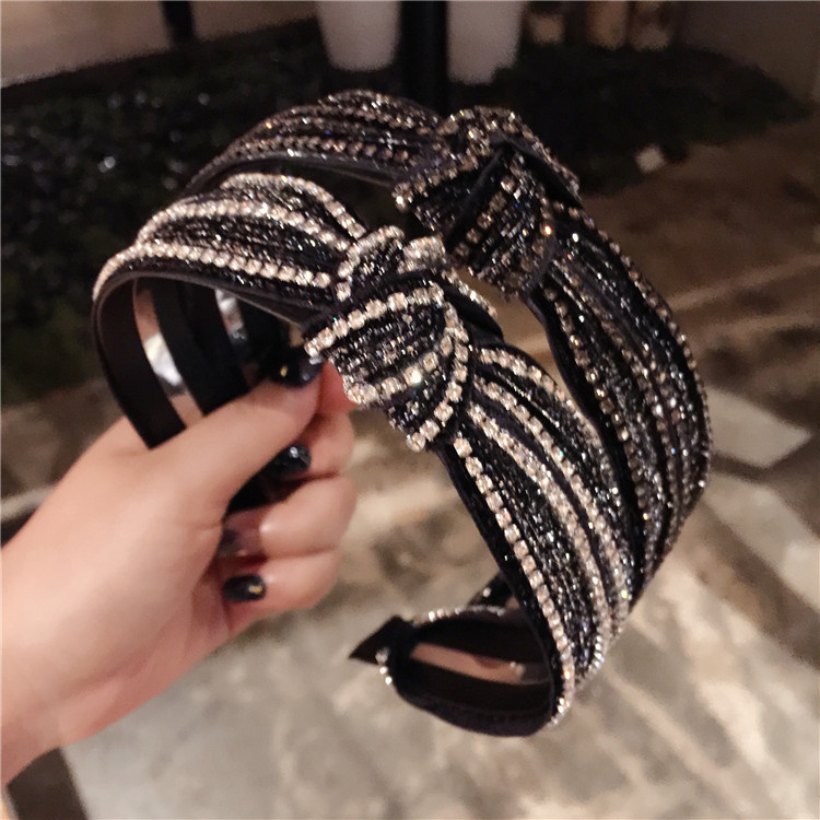 Korea Knotted  Rhinestone Crystal Black  Hairbands Hair Accessories Hairband For Girls Sparkling Headbands For Women