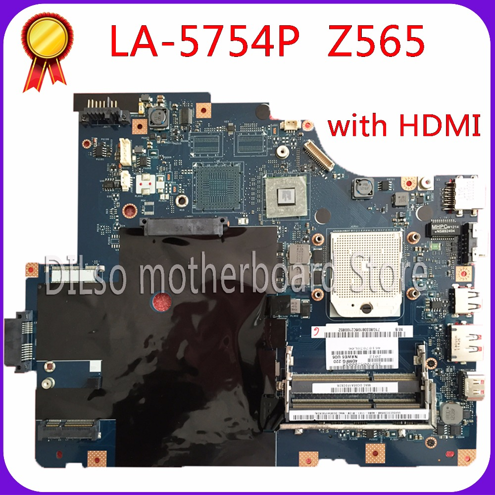 KEFU LA-5754P motherboard for Lenovo G565 Z565 Laptop motherboard Z565 motherboard ( with HDMI port ) 100% tested mainboard 1422 01qj000 lcd cable fit for toshiba e45t b4100 series laptop motherboard 30pin edp port 20pin motherboard port
