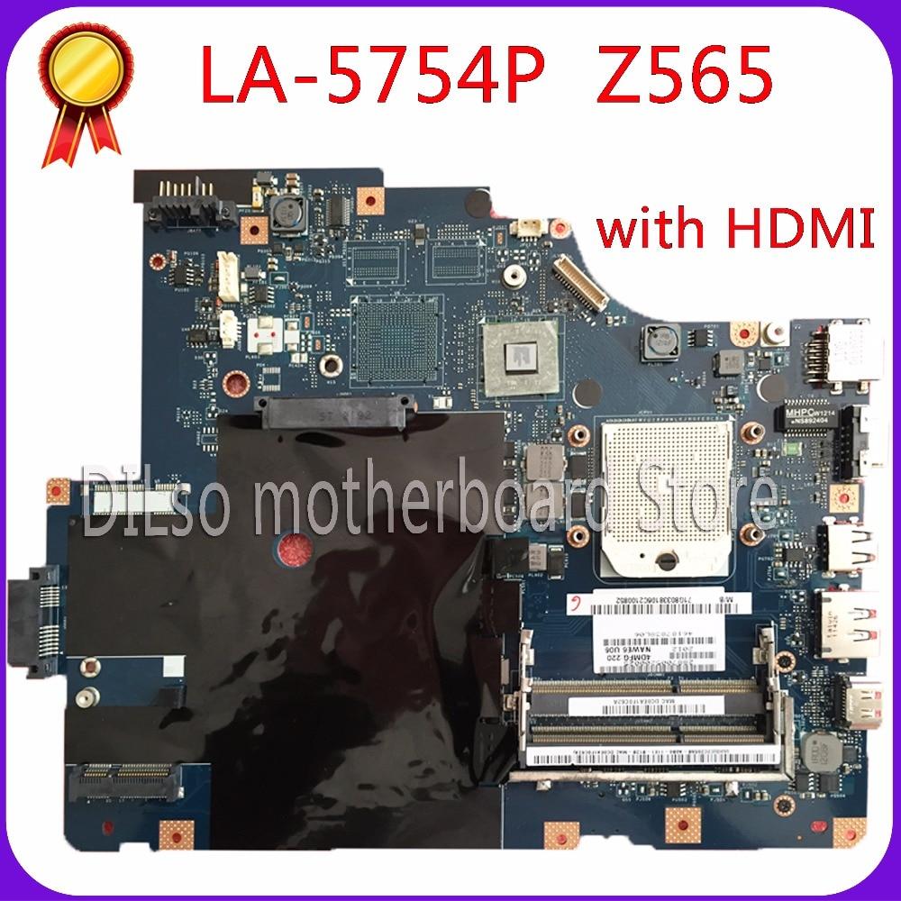 KEFU LA-5754P motherboard for Lenovo G565 Z565 Laptop motherboard Z565 motherboard ( with HDMI port ) Test mainboard free shipping for lenovo z565 g565 nawe6 la 5754p la 575 mainboard without hdmi port