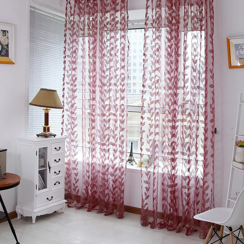 Door Window Scarf Sheer Leaves Printed Curtain Drape Panel Tulle Voile Valances Curtains For Living Room