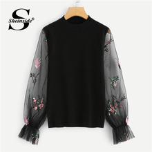 Sheinside Black Sweater Women Soft Knit Jumper With Embroidered Mesh Sleeve Pullover Autumn Sweaters Fashion 2018 Womens Top