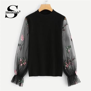 216028aa475 Sheinside negro suéter mujeres Soft Knit Jumper con bordado manga de manga  Pullover otoño suéteres moda 2018 mujeres Top