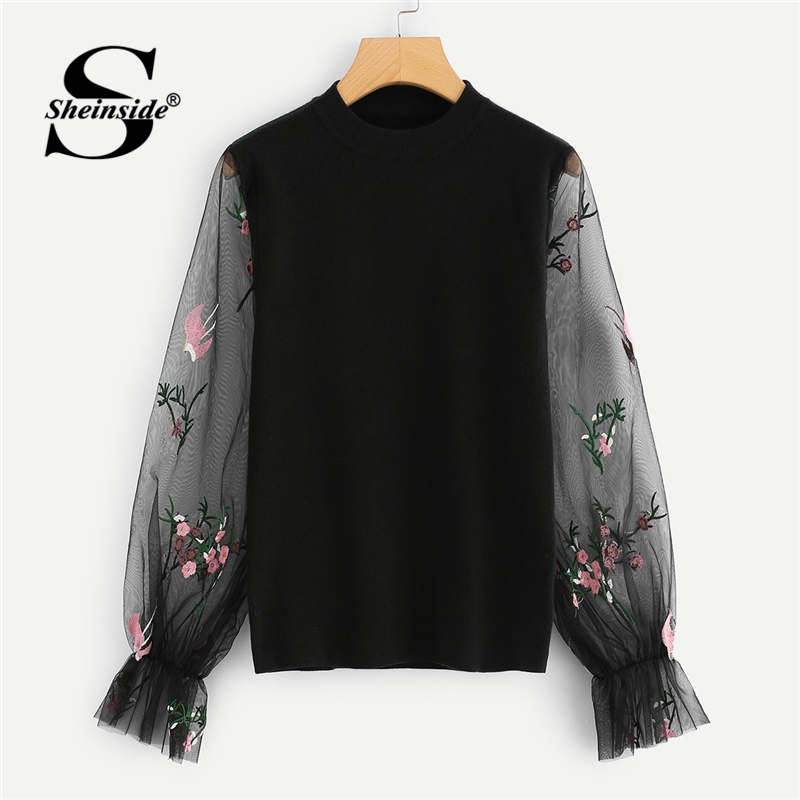 Mujeres Suéter Pullover Manga Knit Top Soft Moda Con Jumper De Negro Otoño Suéteres Sheinside 2018 Bordado Swqva5Ex