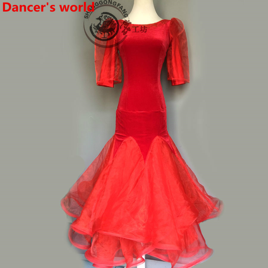 Latin Dance Dress Women V-Collar Back Opening Salsa Samba Tango Ballroom Competition Costume Lady Practise/Competition Dance