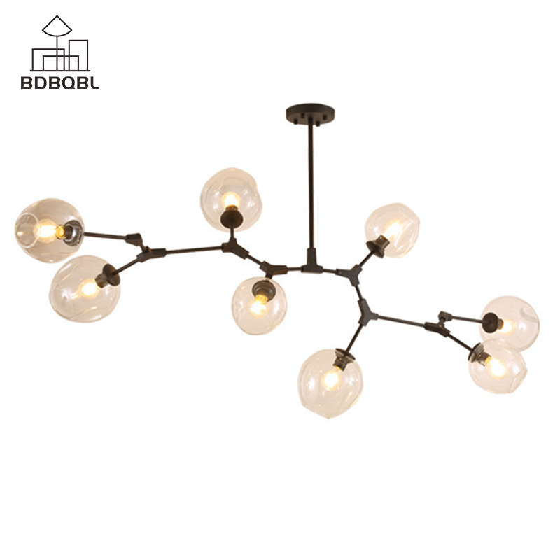 Lights & Lighting Bdbqbl Modern Metal Led Chandelier 3/5/7/8 Heads Glass Lampshade Ceiling Chandeliers Black/golden E27 Bulb Bedroom Chandelier Beautiful And Charming Chandeliers