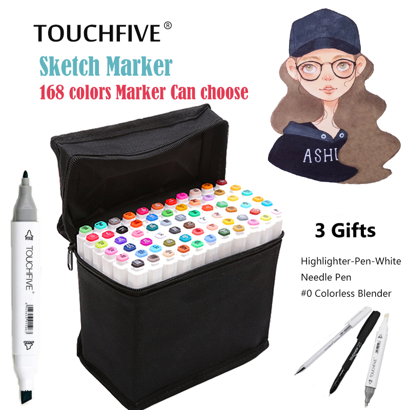 TouchFIVE 30/40/60/80/168Colors Pen Marker Set Dual Head Sketch Markers Brush Pen For Draw Manga Animation Design Art Supplies dainayw 12 cool grey colors marker pen grayscale dual head art markers set for manga design drawing school student supplies