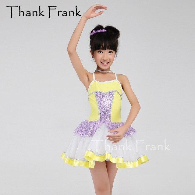 2d6f5ec21 € 35.02 |Nuevo diseño de camiseta Ballet Tutu vestido danza niños princesa  estilo Adorable amarillo púrpura niño trajes de Ballet C454 en Ballet ...