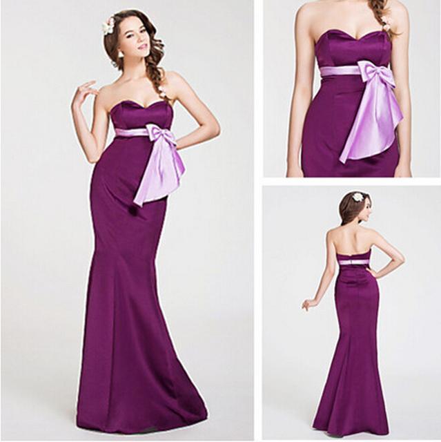 Querida faixas de cetim sereia longas roxas Bridemaid vestidos frete grátis vestidos de festa de casamento