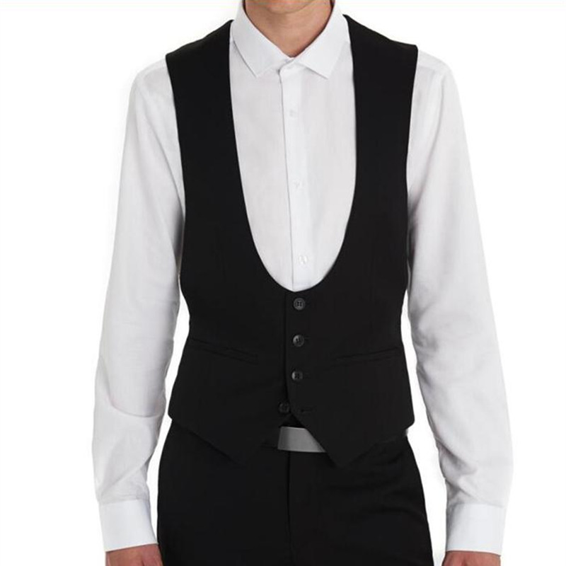 Black Wedding Groom Vests 2018 New Custom Made Formal Men Suit Vest Wedding Prom Dinner Waistcoat
