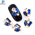 10Pcs/lot Rhinestones For Nail Art Design Sapphire Blue Crystal Mix White Pearl Beauty DIY Nails Decoration TN2009